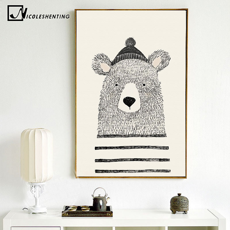 NICOLESHENTING Nordic Art Bear Fox Canvas Poster Painting Cartoon Animal Wall Picture Print Children Baby Room Decoration 6