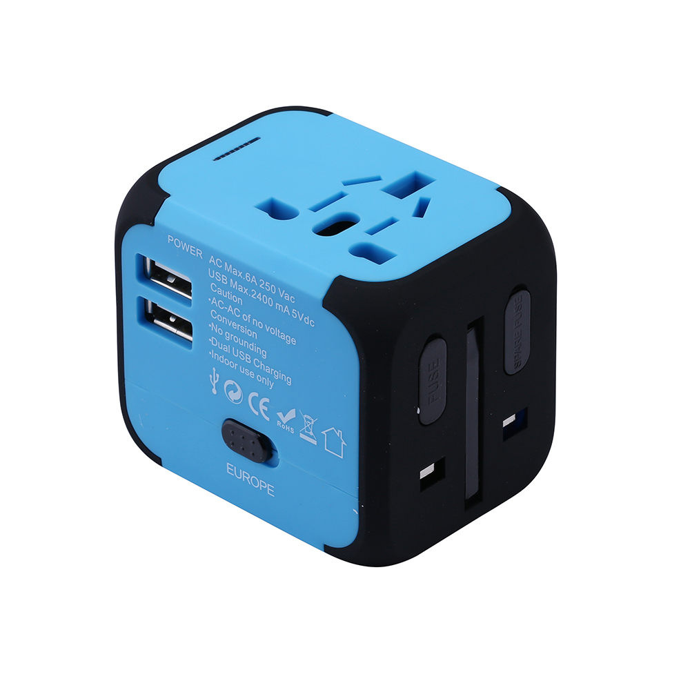 New Universal Travel Adapter Electric Plugs Sockets Converter USAUUKEU with Dual USB Charging 2.4A LED Power Indicator