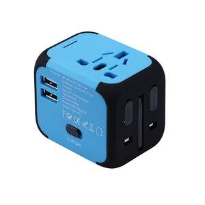 Image 1 - Spina elettrica adattatore per presa di corrente convertitore universale per caricabatterie da viaggio internazionale EU UK US AU con 2 LED di ricarica USB 2.4A