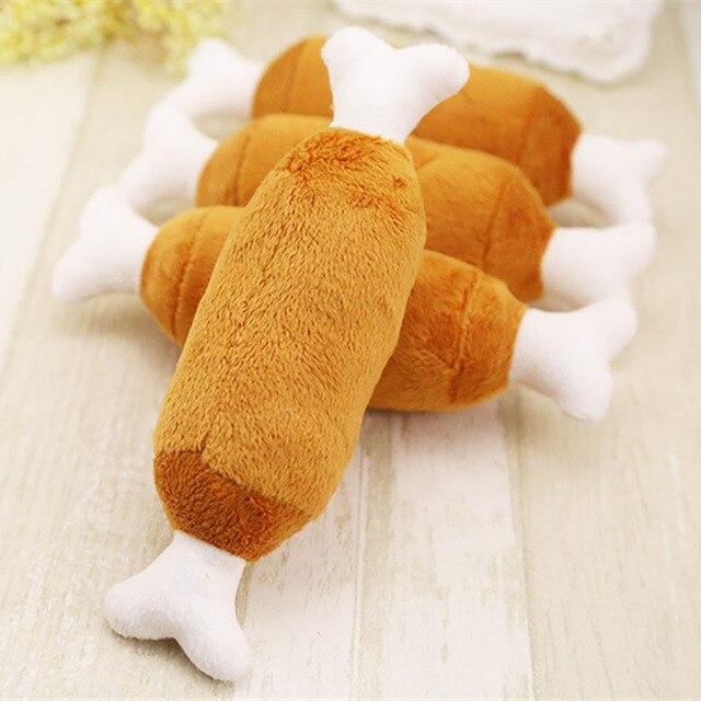 1 Pc piękny zabawki dla psów Pet piszczący gryzak dla szczeniaków piszcząca zabawka pluszowa dźwięk kurczaka Drumstic wzory zabawki produkty dla zwierząt domowych dla psów psy dla małych psów zwierzęta