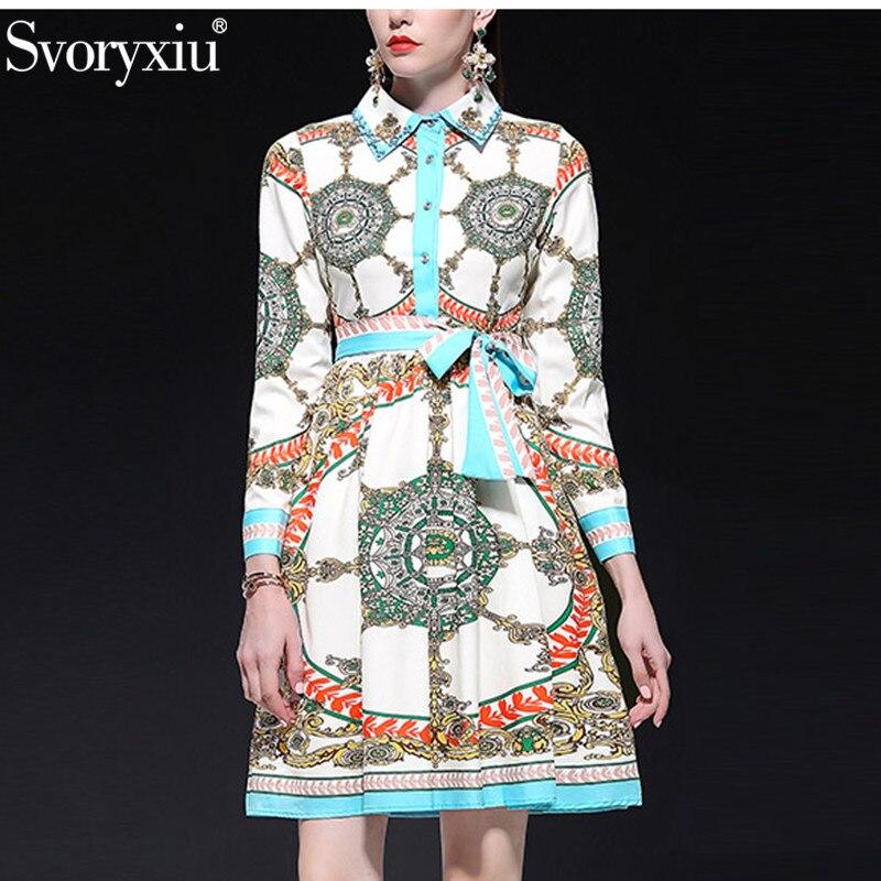 Svoryxiu 봄 Summer 디자이너 패션 긴 Sleeve Dress Women's 구슬 Turn Down 칼라 Vintage Print 자 드레스 숙 녀-에서드레스부터 여성 의류 의  그룹 1