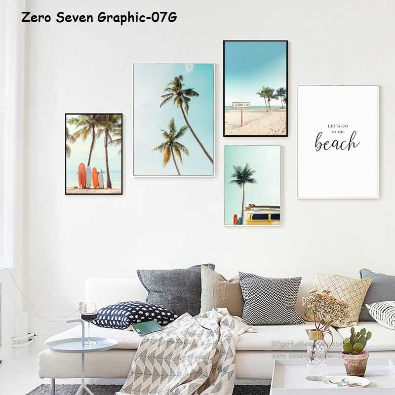 Canvas Painting Vintage Landscape Surfboard Palm Trees Surf Van Holiday Trip Poster Print Wall Art Pictures For Home Decoration