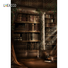 Laeacco Vintage Library Interior Ancient Bookshelf Students Photography Backgrounds Portrait Cloth Backdrops For Photo Studio