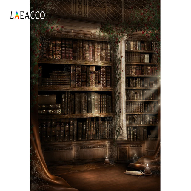 Laeacco Vintage Library Interior Bookshelf Potter Baby Students Photography Backgrounds Photographic Backdrops For Photo Studio