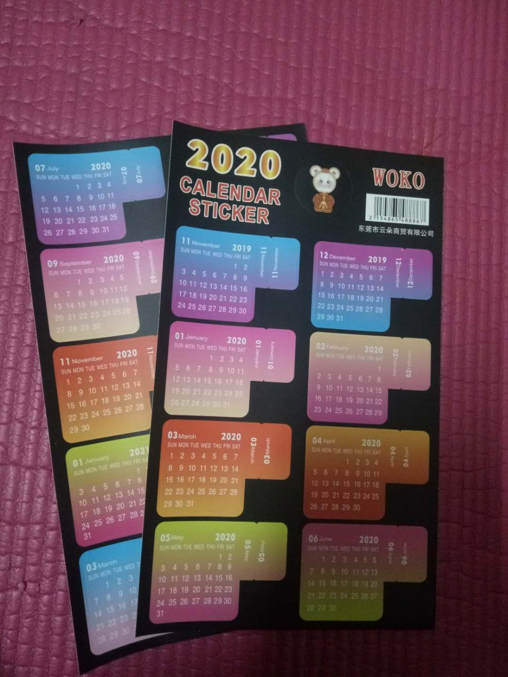 New 2019-2020 Years Calendar Handwritten Calendar Notebook Index Label Sticker Calendar Sticker Organizer Kawaii Stationery