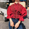BOBOKATEER Boho White Lace Chiffon Blouse Women Summer Red Ladies Off Shoulde Top Womens Tops And