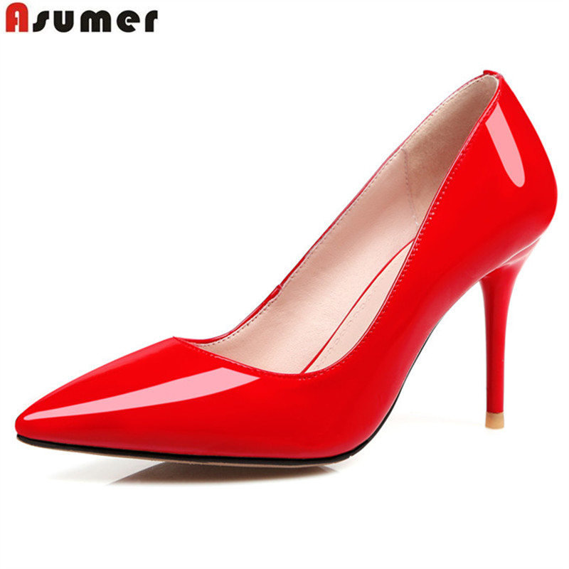 ASUMER new arrive women pumps sexy ladies wedding shoes red black pink pointed toe genuine leather shoes thin high heels shoes cocoafoal woman green high heels shoes plus size 33 43 sexy stiletto red wedding shoes genuine leather pointed toe pumps 2018