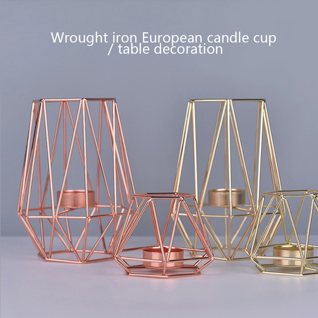 Nordic Style Wrought Iron Geometric Candle Holders Home Decorate Metal Crafts candlestick candelabros de velas Holder mesa 5