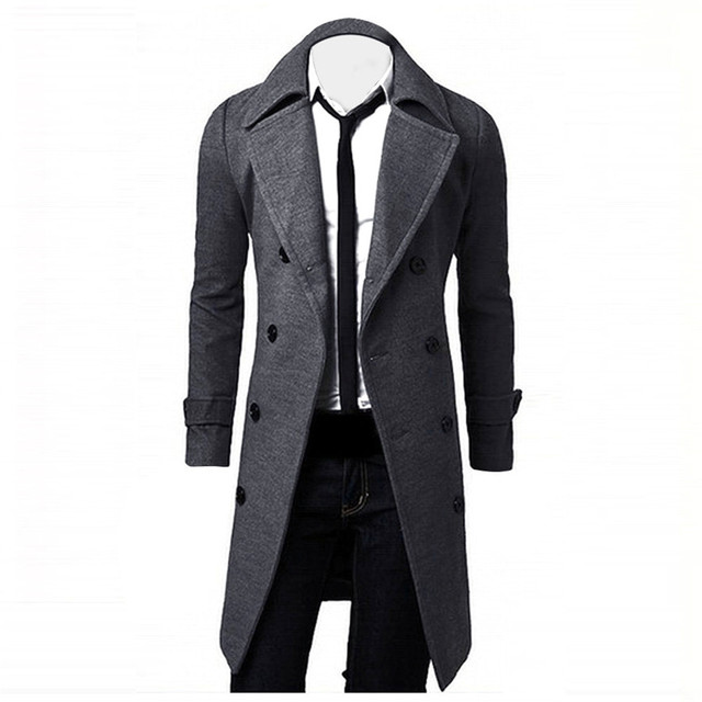 Hot Brand Winter Men Slim Stylish Trench Coat Double Breasted Long Jacket Parka