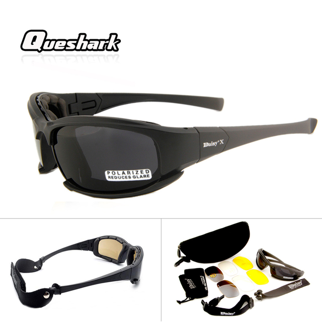 599bbac14a Special Offers Queshark Professional 4 Lens Polarized Tactical Goggles  DAISY X7 Camouflage Military Motorcycle Cycling Glasses
