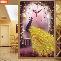 5D DIY Wall Clock Diamond Painting Cross Stitch Golden Peacock Watch Diamond Embroidery Diamond Mosaic