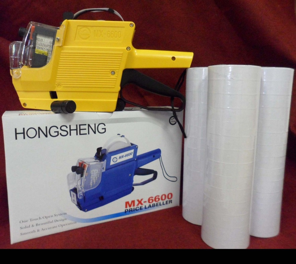 [ Fly Eagle ] MX-6600 10 Digits 2 Lines Price Tag Gun Labeler +1 Ink + 30 Rolls White 500 Tags Yellow