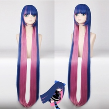 Hot Sale Panty & Stocking with Garterbelt 120cm Long Straight Blue Pink Cosplay Wig for Women Costume Party Cartoon Universal цена