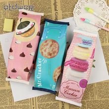 1PC Kawaii Creative Macaron font b School b font Pencil Case For Girls Chocolate Cracker PU