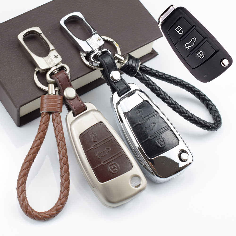 Zinc alloy leather black brown car key case bag holder shell For Audi Q3 A4L A6L Q5 Q7 A1 A3 flip key cover
