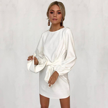 ELSVIOS 2018 Lantern sleeve Loose Knitted Short Dress Women Autumn Front Tie Bow Bandage Dress Ladies solid O Neck party Dresses