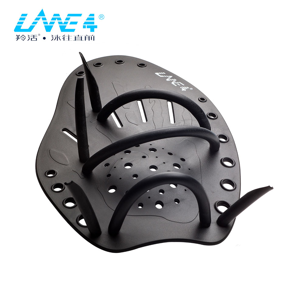 LANE4 HAND PADDLES Professional Swim Training Aid Adjustable Straps for all swimming levels and strokes HPA BLACK ...