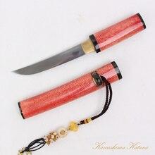 Handmade Samurai Folded Steel Sword Katana Tanto Dagger Full Tang Sharp Edge Red Fish Leather Saya Short Sword