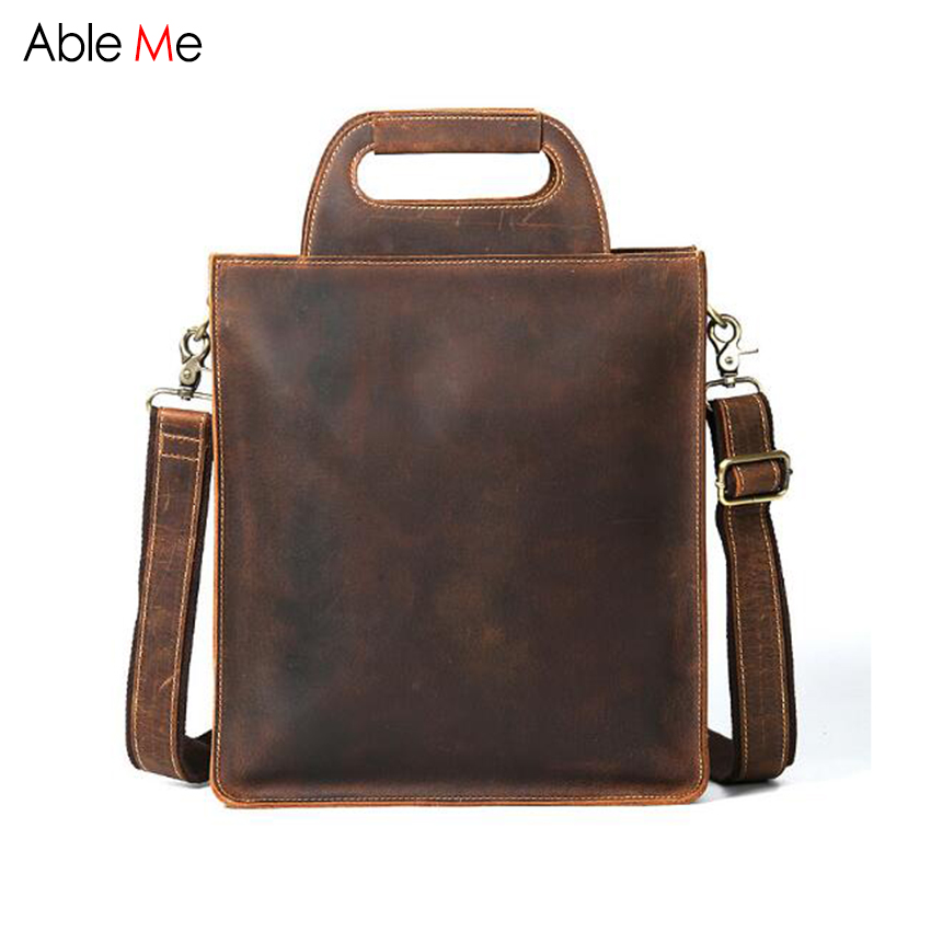 AbleMe Genuine Leather Messenger Bag Men Crossbody Laptop Handbags High Quality Shoulder Bags Men Bag gifts can custom name xi yuan 2017 genuine leather bags men high quality messenger bags small travel dark brown crossbody shoulder bag for men gifts