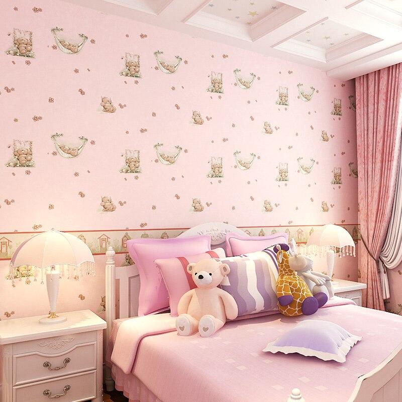 Новый мультфильм спальные милый медвежонок детская комната обои Для мальчиков и девочек спальня теплый нетканые покрытия стен Розовый Дет...