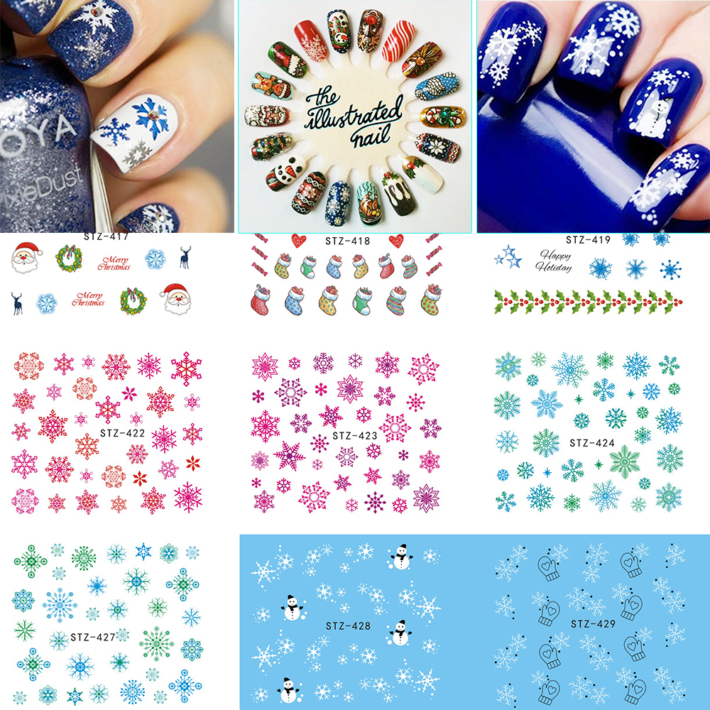 1Sheet Christmas Snow Flower Nail Art Water Transfer Nail Stickers Decal Full Cover Tips Christmas Xmas Gift SASTZ415-439 1 sheet beautiful nail water transfer stickers flower art decal decoration manicure tip design diy nail art accessories xf1408