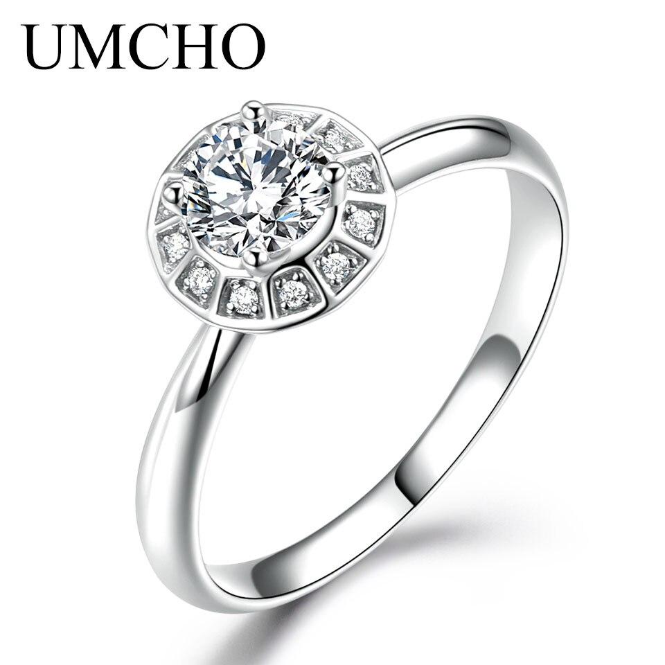 Umcho Solid 18 K White Gold Wedding Anniversary Bridal Ring