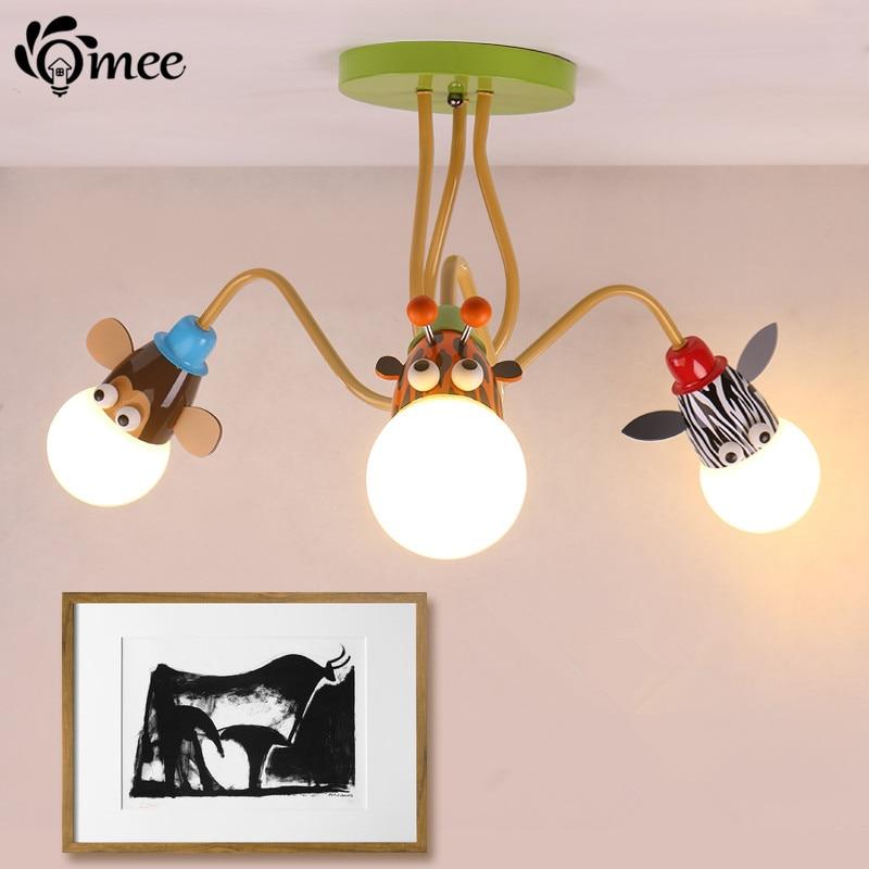 US $65.28 49% OFF|Kinderzimmer Beleuchtung Moderne 3 köpfe Tier Anhänger  Lichter Kinder Schlafzimmer Lampe LED Für Wohnzimmer Hause Decke Dekoration  ...