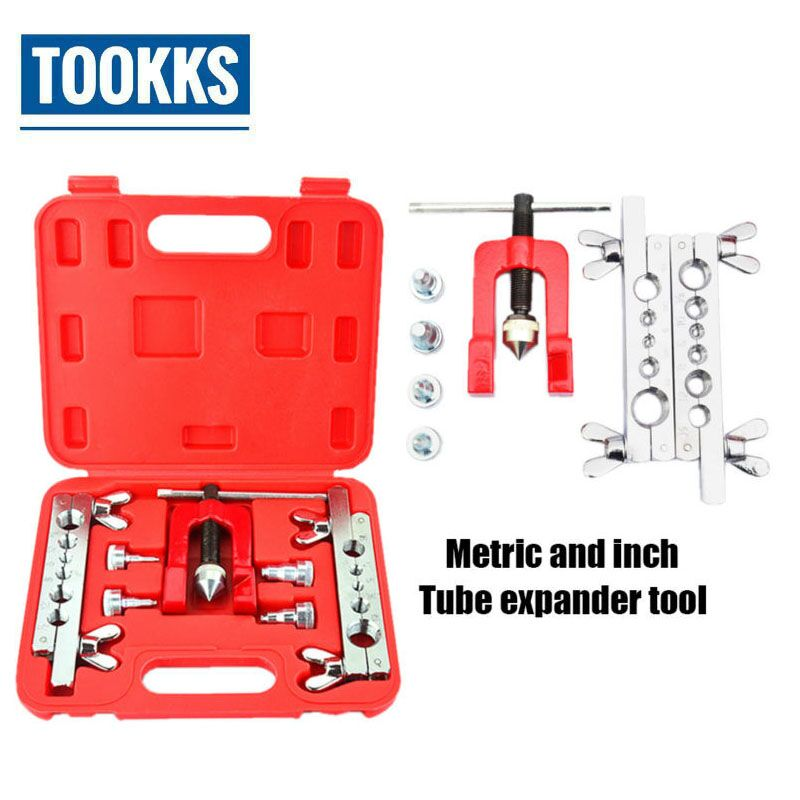 Metric and Inch Tube Expander Kit SJ0058 Air Conditioner Copper Pipe Reamer Tube Flaring Tool 5mm-19mm the vertical and horizontal tool ct 195a inch tube expander expander tube flaring tool of air conditioning