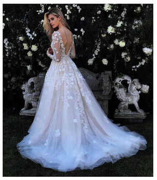 Eightale Wedding Dress with Long Sleeve 3D Flowers Vestidos de novia Bride Dresses Vintage Lace Appliques Backless Wedding Gowns