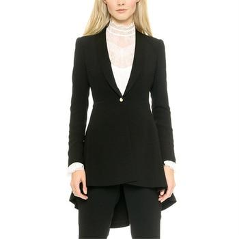 Black Hi-Lo Elegant Formal Work Wear 2 Piece Set Womens Business Suits Blazer Female Trousers Suit Office Uniform Evening Tuxedo