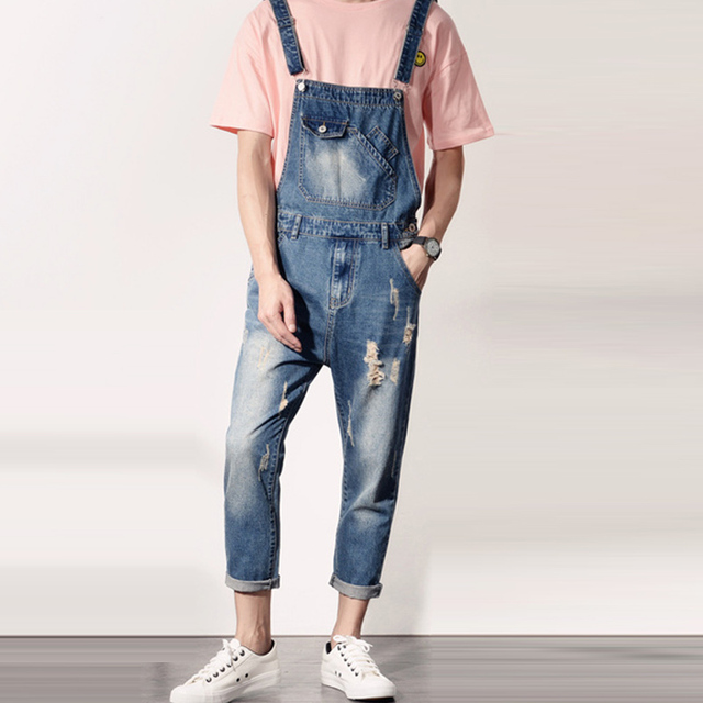 b62329c9c1 Spring Fall Fashion Mens Ripped Hole Ankle Length Denim Overalls ...