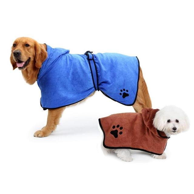 Pet Dog Cat Super Absorbent Drying Bath Warm Towel Embroidery Paw Shower Hooded Bathrobe with Waist Belt Grooming Pet Product