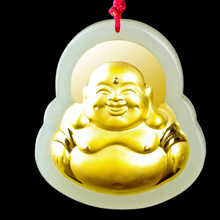 XinJiang Hetian Jade Maitreya Pendant Drop Shipping Gold Jade Lucky Amulet Buddha Pendant Necklace For Women Men Fine Jewelry недорого