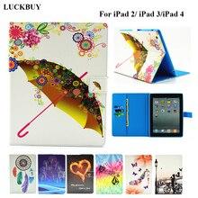 LUCKBUY para ipad 2 3 4 Caso Precioso Paraguas cubre Diseño Del Soporte Tabletas de Caja de Cuero magnética de LA PU para el ipad 4 3 2 Smart Covers