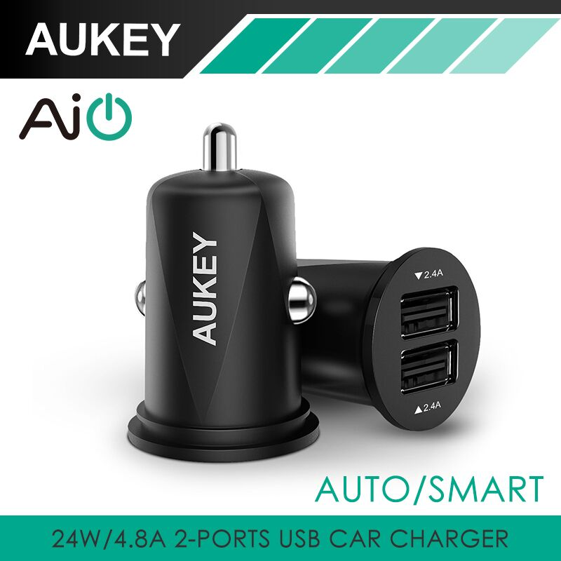 AUKEY Mini 4.8A Dual Port USB Car Charger Universal Fast Smart Car-Charger For Apple iPhone 7 LG Samsung Xiaomi &More Cell Phone