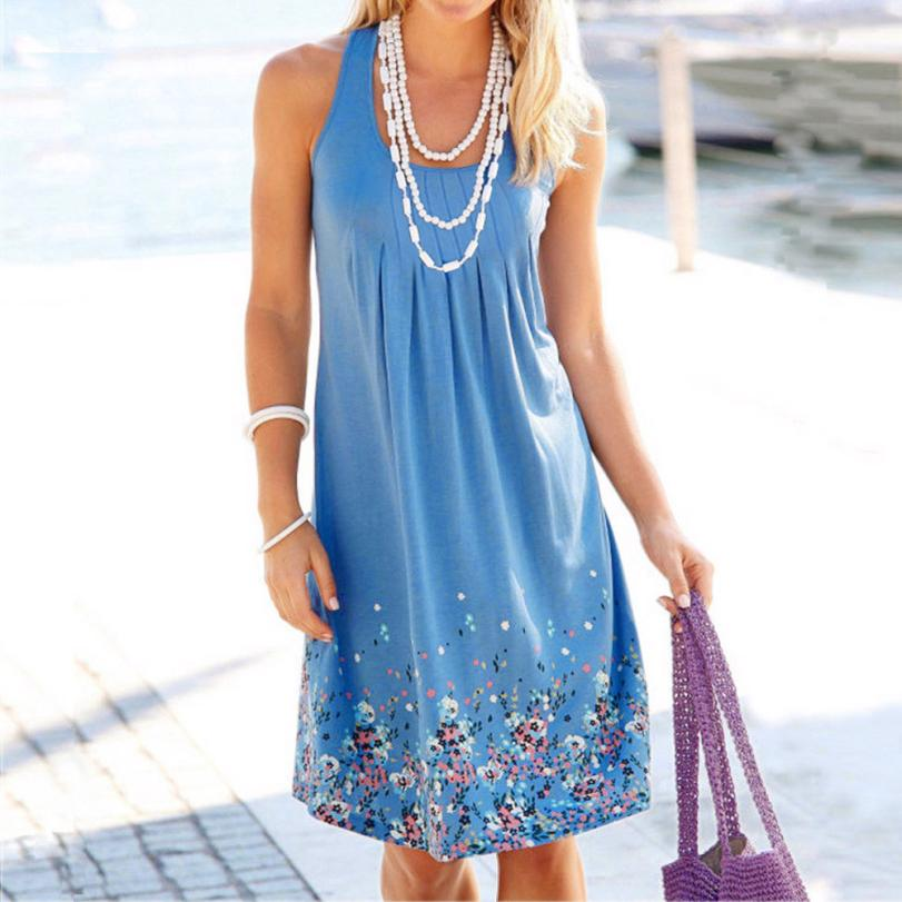 KANCOOLD Dress Women Summer Brief Printing Sleeveless Evening Party Dress O-Neck Loose Beach Vest Dress Women 2018jul31