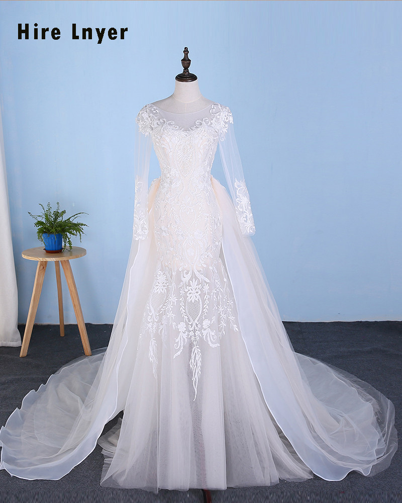 NAJOWPJG 2019 Newest Arrive Vestido De Noiva Long Sleeve Backless See  Through Skirt Appliques Wedding Dress 27879b266445