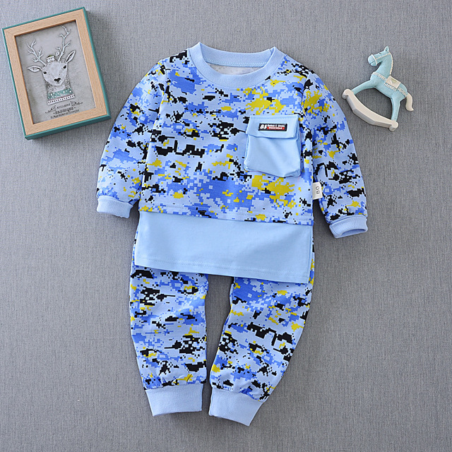 2017 Primavera Outono novos meninos meninas definir 0-4 anos de Camuflagem t-shirt de manga comprida + calças terno dos esportes do bebê crianças conjunto ocasional
