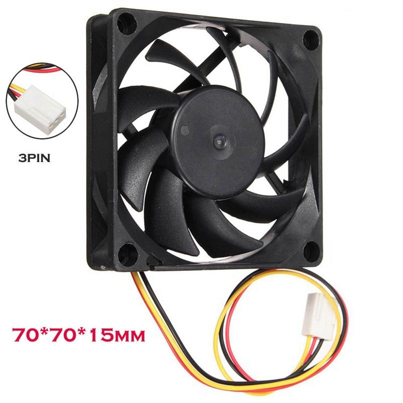 Quiet 7cm/70mm/70x70x15mm 12V Computer/PC/CPU Silent Cooling Case Fan   H0T0 aerocool 15 blade 1 56w mute model computer cpu cooling fan black 12 x 12cm 7v