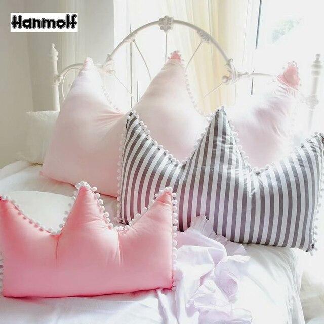 Crown Stuffed Pillow Cotton Soft Pillow Stripe/Pink/Dark Pink Sofa Chair  Decor Crown