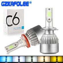 C6 H8 LED HB3 HB4 H16 9005 9006 HIR2 H13 H1 H3 H7 H9 5202 COB 3000 K 4300 K 8000 K 25000 K Auto Faro Lampadine lampada della Nebbia auto luce