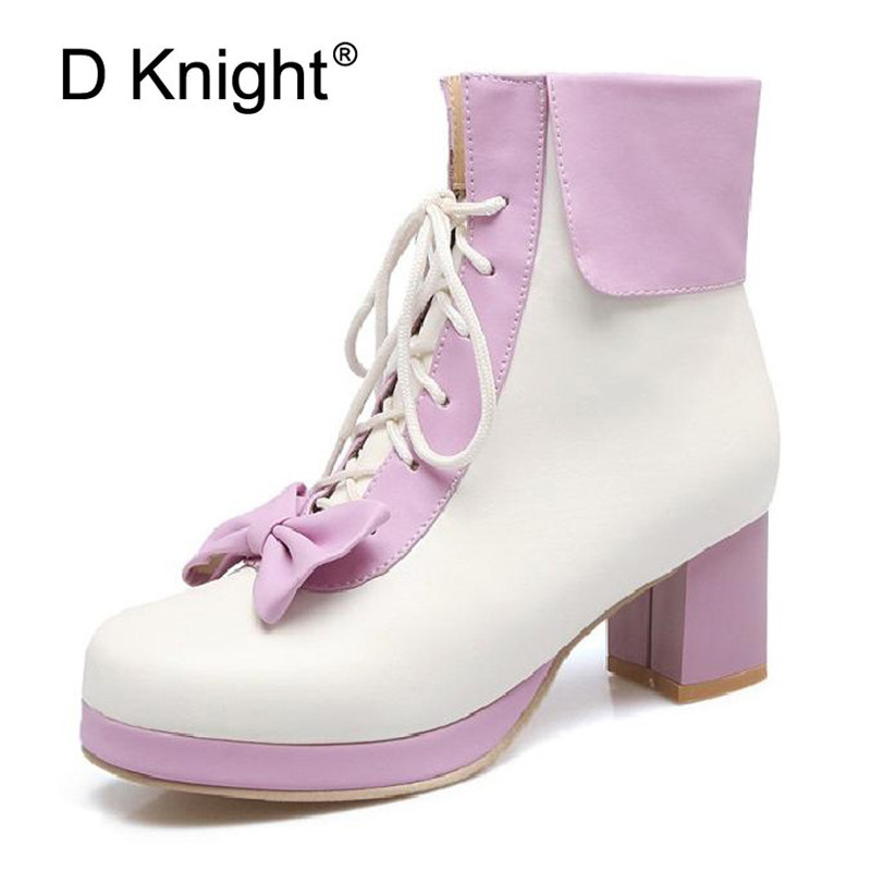 Black Pink Student Soft Sister Lolita High heeled Boots Cosplay Bow Lace Up Sweet Ladies Lolita Shoes Women Ankle Platform Boots