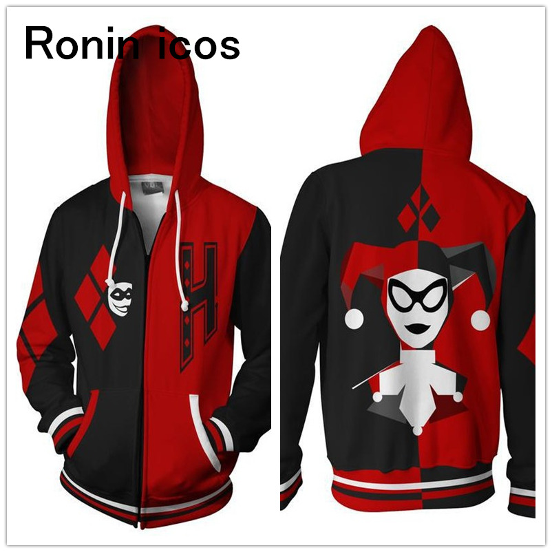 Hot Suicide Squad Harley Quinn Hoodie 3D Printing Large Size Spring Fall Hooded Sweatshirt Zipper Coat Jacket Halloween Costume
