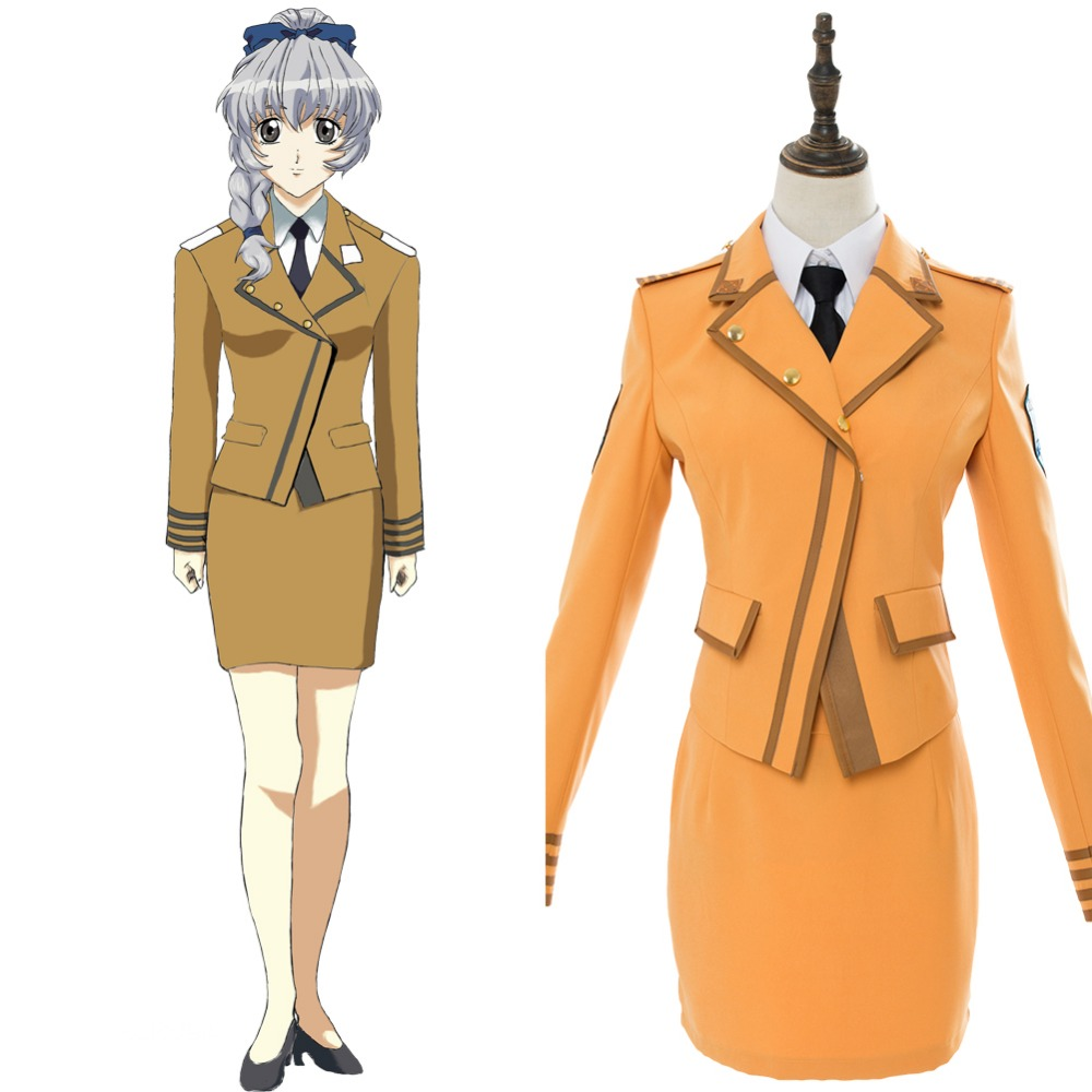 Anime Full Metal Panic Cosplay Costume Invisible Victory Teletha Adult Women Girls Dress Uniform Hallowen Cosplay High Quality Pure White And Translucent