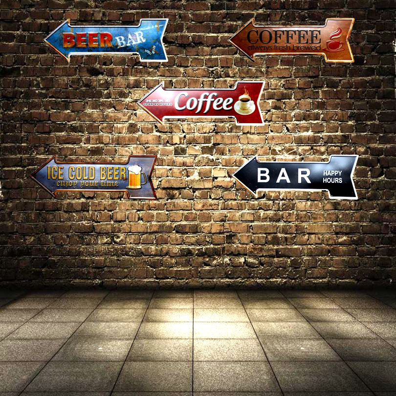 Beer Bar Coffee Arrow Metal Irregular Signs Vintage Advertising board Wall Pub Coffee Home Art Decor 42X10CM U-2