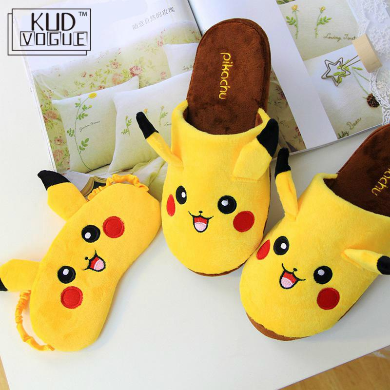 For Pokemon Pikachu Slippers Lounge Unisex Pajamas Cosplay Costume Shoes Cartoon Home Warm Couples Indoor Winter Slipper 8446