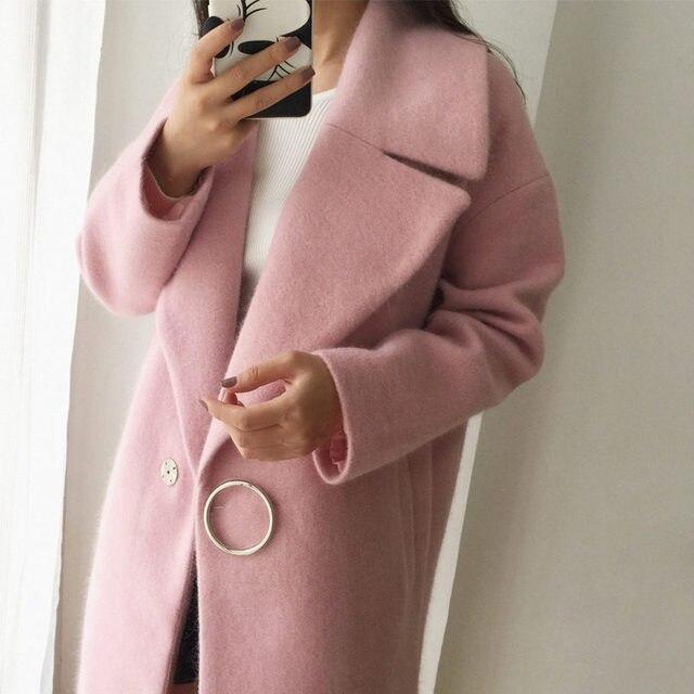 2018 White Wool Blend Coat Women Lapel Long Parka Winter Jacket Cocoon Style Elegant Woolen Coat Thicken Female Outerwear C3745 4
