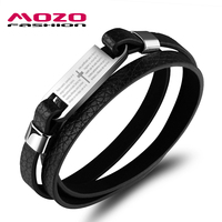 MOZO FASHION Men Vintage Bracelet Bible Cross Leather Rope Hand Bracelets Stainless Steel Charm Bracelet Male