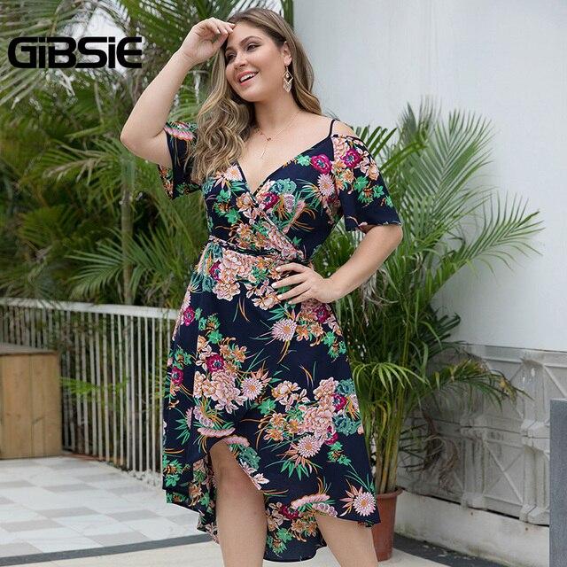 GIBSIE Plus Size Boho Floral Print Cami Wrap Dress Women Beach Summer Holiday Dress 2019 V-Neck Cold Shoulder Midi Dresses 5