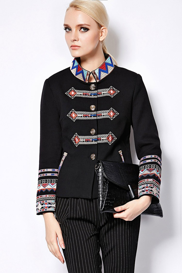 Full Sleeve Geometric Flower Emboidery Turtleneck Jacket